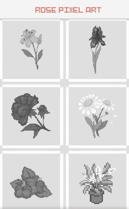 玫瑰花像素艺术图1