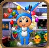 华丽的蓝色兔子逃跑
